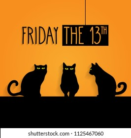 Friday the 13th background with black cats and handwritten text. Vector illustration