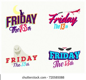 Friday the 13th Badges Design with Horror 3D Illustration isolated Graphic Elements Collection Set ideal for Web, Ads, Pages, Covers and Print