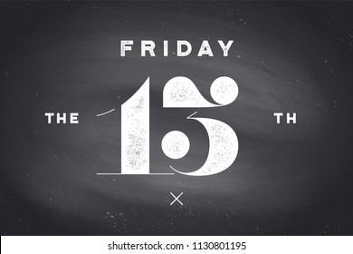 Friday the 13th. Banner and poster with text Friday the 13th. Hand drawn design in red and black color. Horror typography for party holiday 13th, Friday. Banner, poster, flyer. Vector Illustration