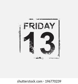 Friday 13th, grunge design, vector illustration