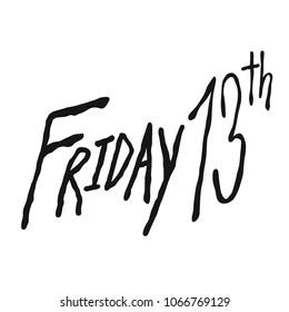 Friday the 13th handwriting word vector illustration