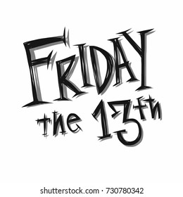 Friday the 13th handwriting word vector illustration