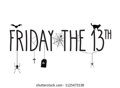 Friday the 13th poster with hand lettering text. Vector illustration.