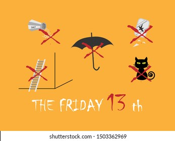 Friday the 13th superstitions Walking under a ladder,use umbrella inside,black cat,broken mirror,spilling salt vector illustration.Friday th 13th is considered an unlucky day in western