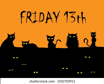 Friday the 13th word illustration with 13 black cat on the roof vector illustration.Friday th 13th is considered an unlucky day in western superstition