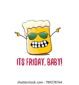 Its friday baby vector concept illustration with funky beer hand drawn character isolated on white background. happy friday vector background or poster