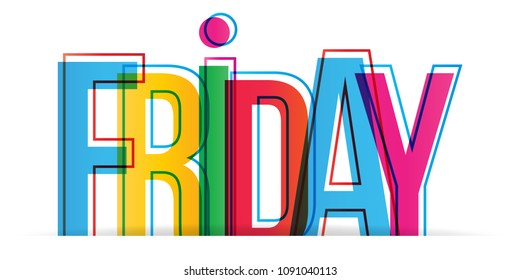 Friday colorful word. Vector banner.