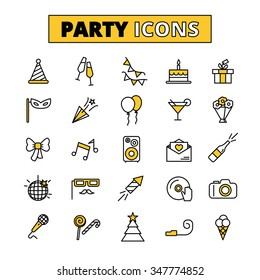 Friday evening wedding party outlined icons collection with invitation cake and music symbols abstract isolated vector illustration