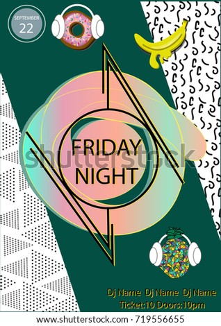 friday night party poster template geometric stock vector royalty