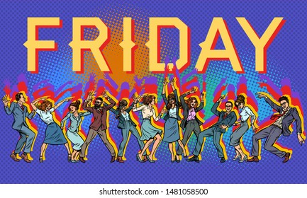 Friday at the office. dancing businessmen and businesswomen. Pop art retro vector illustration drawing
