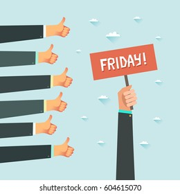 Friday party. A lot of hands of business people showing thumbs up hand sign. Millennial's office concept. Have A Great Weekend