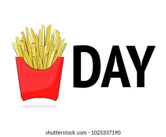 Friday vector modern illustration. Cool french friyes day quote. Good for poster, tshirt print, case cover. Weekend lettering with red package of takeaway fast food. Modern inspiration