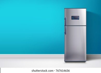 fridge at blue wall