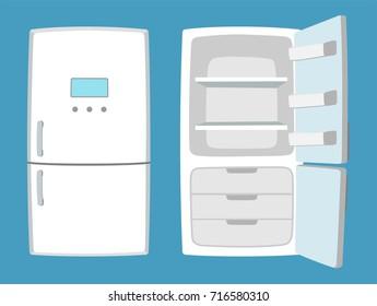 Fridge in cartoon style. Open and closed refrigerator. Vector illustration.