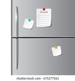 Fridge doors and empty paper note, sticker, and to do list