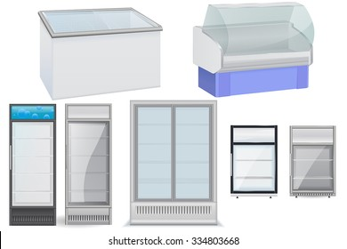 Fridge Drink with glass door. Mini  display cooler. Freezer and refrigerator. Vector isolated on white background.