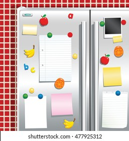 Fridge freezer door with magnets.