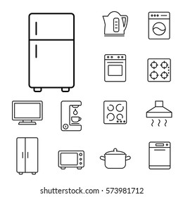 fridge freezer refrigerator condenser ihousehold appliance icons set line black on white background