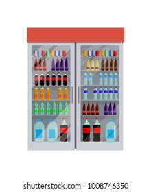 Fridge full of bottles of water, different king of beverage, Coca-Cola and Fanta, liquid in containers, vector illustration isolated on white
