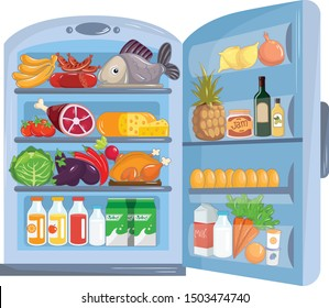 Fridge full of groceries. Refrigerator with food. Outdoor white refrigerator with products, vegetables, fruits, meat and dairy products. Vector illustration of a refrigerator on a white background.
