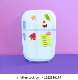 Fridge icon with magnets and stickers. Vector illustration. Cartoon style.
