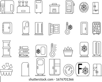 Fridge icons set. Outline set of fridge vector icons for web design isolated on white background,very simple