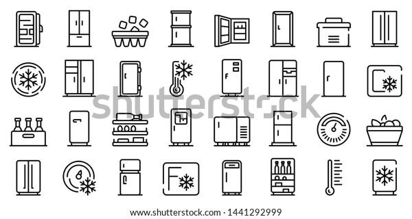 Fridge icons set. Outline set of fridge vector icons for web design isolated on white background