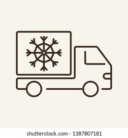 Fridge lorry line icon. Refrigerator, truck, van. Transport concept. Vector illustration can be used for topics like food products, shipment, logistics