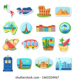 Fridge magnets flat vector illustration. Abroad, foreign countries traveling souvenirs. Famous European landmarks and tourist attractions stickers vector cartoon illustration set.