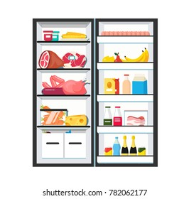 Fridge with open door. Full of vegetables, fruits, meat and dairy products. Refrigerator. Flat style vector illustration isolated on white background.