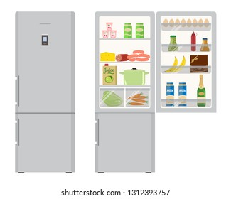 Fridge with open doors, a full of food. There is a champagne bottle, a box of chocolates, a milk, a juice, a sausage, bananas, eggs, ketchup and vegetables in the picture. Vector illustration