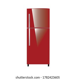 The fridge is red. Isolated Vector