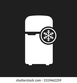Fridge vector icon on black background