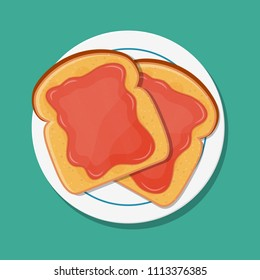 Fried bread, toast with strawberry jam for breakfast. Jelly paste. Vector illustration in flat style