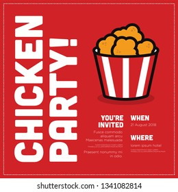 Fried Chicken Bucket Invitation Design with Where and When Details