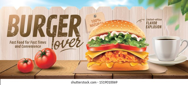 Fried chicken burger banner ads on wooden table and white fence in 3d illustration