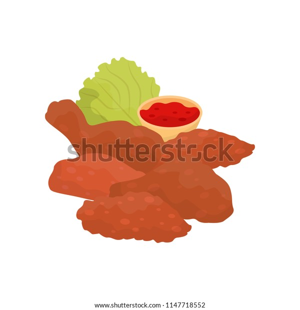 Fried chicken, fast food dish vector Illustration on a white background