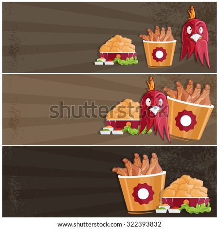 Fried Chicken Fast Food Vector Banners Stock Vector Royalty Free