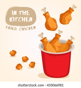 Fried Chicken Isolated Set : Vector Illustration