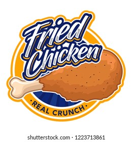 fried chicken logo and font, emblem, badge object graphic illustration