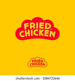 Fried chicken logo. Letters on a form like red rooster comb. Monochrome option. Corporate emblem for fast food restaurant.
