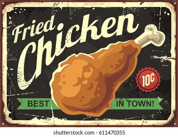 Fried chicken retro sign design concept on black background. Vintage style restaurant signboard with delicious crispy drumstick, Vector illustration.