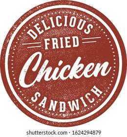 Fried Chicken Sandwich Vintage Menu Stamp