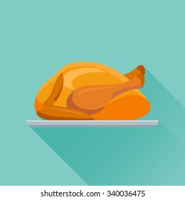 Fried chicken or turkey flat style icon. Vector illustration.