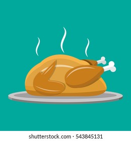 Fried chicken or turkey isolated on blue. vector illustration in flat style