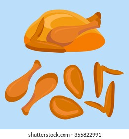 Fried chicken or turkey and its parts isolated on blue background. Vector illustration.