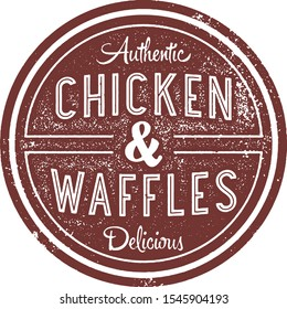 Fried Chicken and Waffles Vintage Restaurant Sign