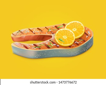 Fried, cooked on grill, salted, flavored with aromatic herbs and two lemon slices salmon steak 3d realistic isolated vector. Appetizing seafood product, delicious, decorated fish dish illustration