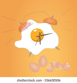 Fried egg and alarm clock design, vector illustration of breakfast. Concept for breakfast menu, cafe, restaurant. Logo template. morning food background.