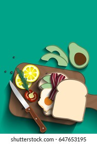 Fried egg and bacon Sandwiches on wooden board with tomatoes, lemon, rosemary and avocado Paper cut concept.